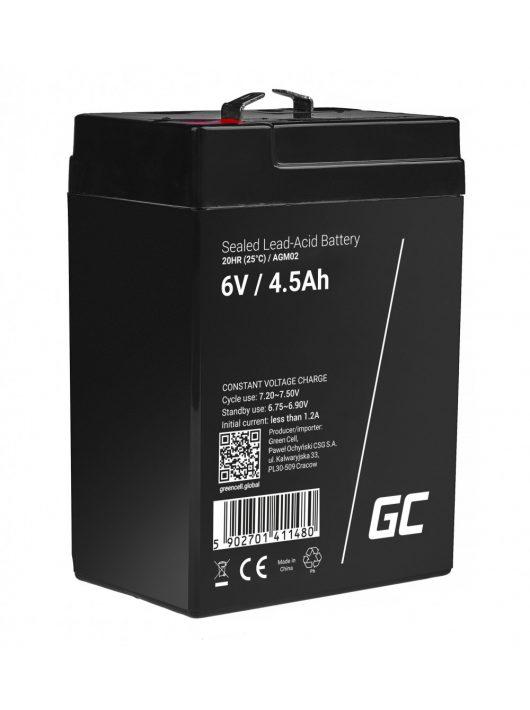 Green Cell AGM zselés akkumulátor / akku 6V 4.5Ah