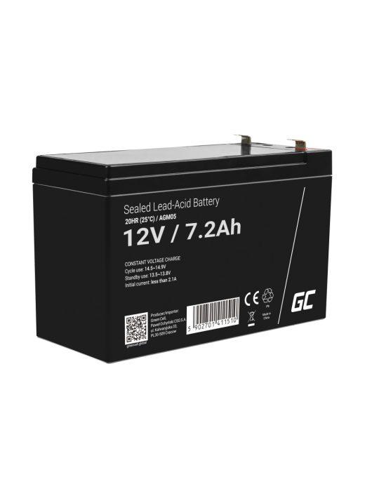 Green Cell AGM zselés akkumulátor / akku 12V 7.2Ah