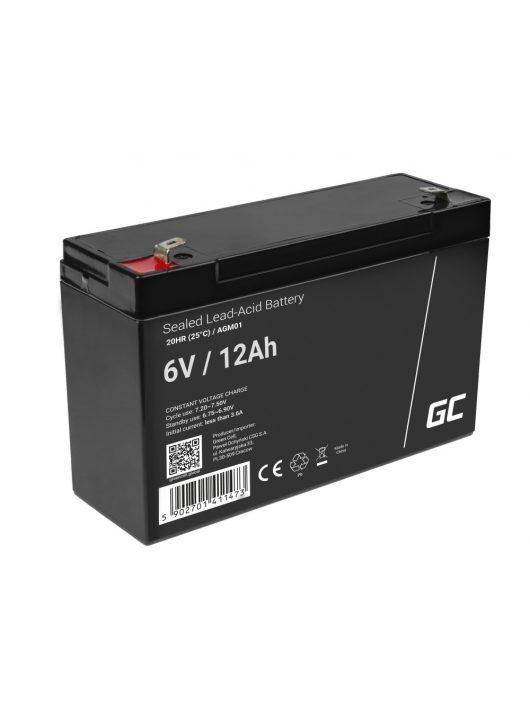 Green Cell AGM zselés akkumulátor / akku 6V 12Ah