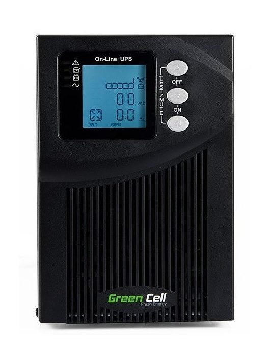 Green Cell UPS Szünetmentes tápegység Online MPII 1000VA LCD kijelző