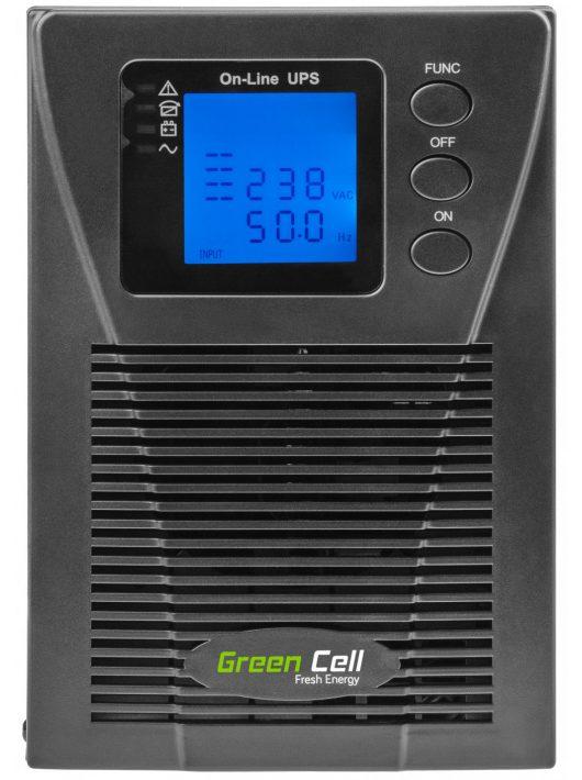 Szünetmentes tápegység UPS Online Green Cell MPII LCD kijelzővel 1000VA