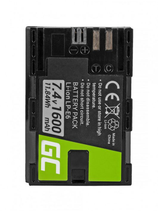 Green Cell Digitális Kamera  akkumulátor / akku Canon EOS 70D, 80D,  7D Mark II,  60D,  6D,  7D 7.4V 1600mAh,  5D Mark II/ III,