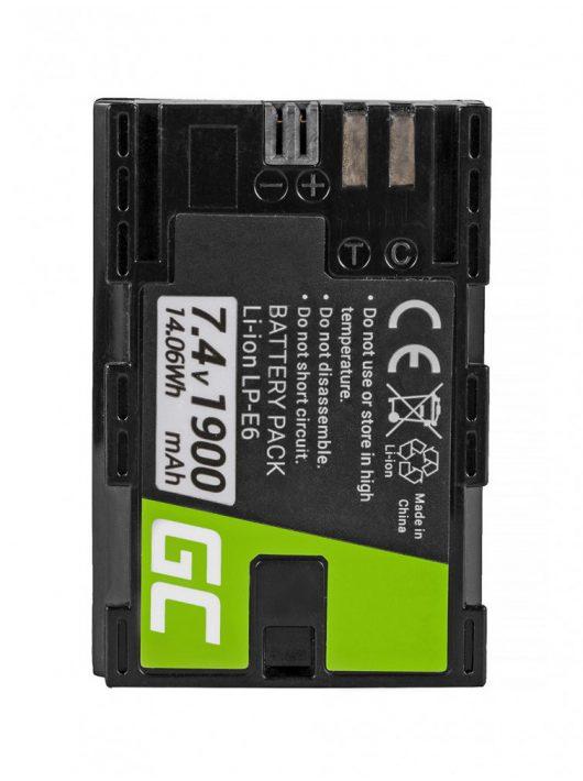 Green Cell Digitális Kamera  akkumulátor / akku Canon EOS 70D, 80D,  7D Mark II,  60D,  6D,  7D 7.4V 1900mAh,  5D Mark II/ III/IV,