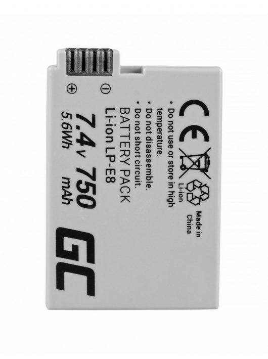 Green Cell Digitális Kamera  akkumulátor / akku Canon EOS Rebel T2i T4i,  T5i,  EOS 600D,  550D,  650D,  700D 7.4V 750mAh,  T3i,