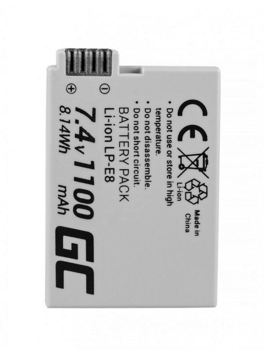 Green Cell Digitális Kamera  akkumulátor / akku Canon EOS Rebel T2i T4i,  T5i,  EOS 600D,  550D,  650D,  700D 7.4V 1100mAh,  T3i,
