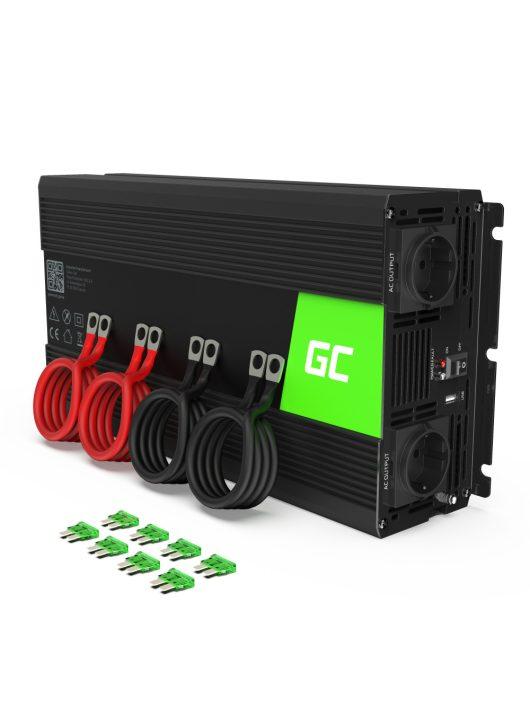 Green Cell Autós Inverter 12V-ról 220V-ra (feszültség növelő) 2000W/4000W