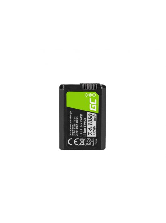 Green Cell Digitális Kamera  akkumulátor / akku Sony Alpha A7 A7R,  A7R II,  A7S,  A7S II,  A5000,  A5100,  A6000 7.4V 1050mAh,  A7 II