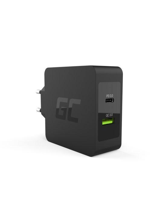 Green Cell USB-C 30W PD Töltő USB QC3.0 és USB-C kábellel Apple MacBook 12, Lenovo Yoga Tab 3 Plus és egyéb készülékekhez