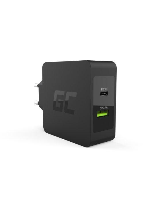 Green Cell USB-C 45W töltő USB-C és USB kábellel Asus ZenBook, HP Spectre, HP Envy x2 és más készülékekhez