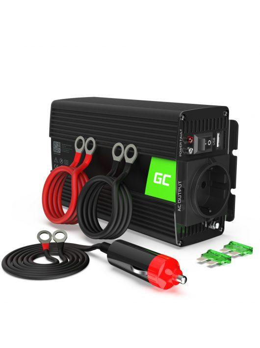Green Cell Autós feszültség átalakító 12V-ról 230V-ra 500W, tiszta szinuszhullám