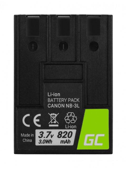 Green Cell Digitális kamera akkumulátor / akku NB-3L NB3L Canon Digital IXUS II, PowerShot SD100, IXY Digital 600 3.7V 820mAh