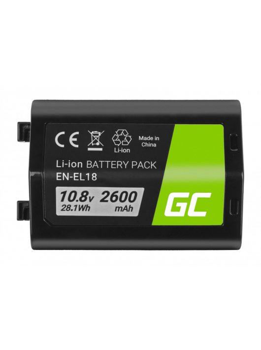 Green Cell Digitális kamera akkumulátor / akku EN-EL18 ENEL18 Nikon D4, D4S, D5 10.8V 2600mAh