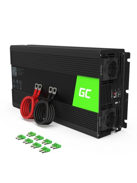 Green Cell Autós Inverter 12V-ról 230V-ra (feszültség növelő) 1500W Tiszta szinuszhullám