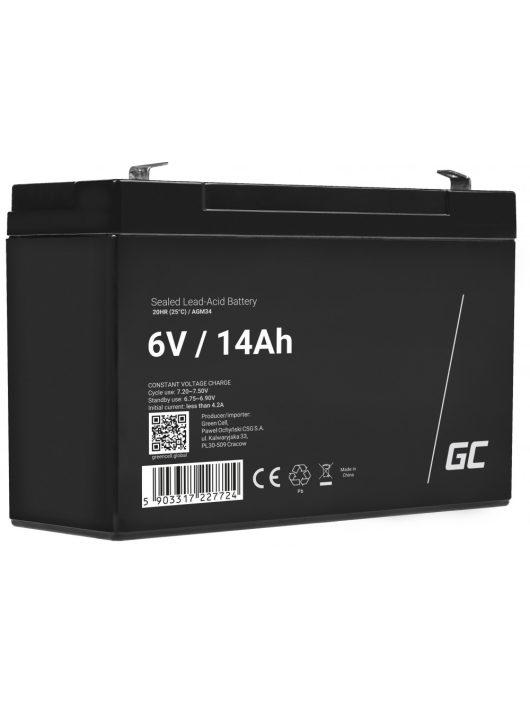 Green Cell AGM zselés akkumulátor / akku 6V 14Ah