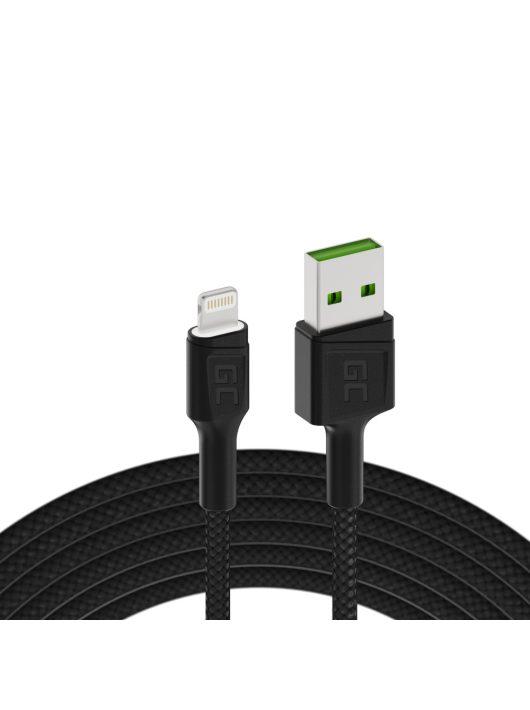 Green Cell Ray USB kábel - Lightning 200cm fehér LED háttérvilágítással, gyors töltésű Apple 2.4A