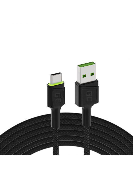 Green Cell Ray USB kábel - USB-C 200cm zöld LED háttérvilágítással, gyors töltésű Ultra Charge, QC 3.0