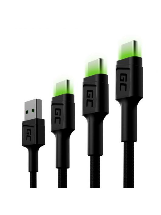 Szett, 3x Green Cell GC Ray USB-C 30cm, 120cm, 200cm USB kábel zöld LED háttérvilágítással, Ultra Charge, QC 3.0 gyorstöltéssel