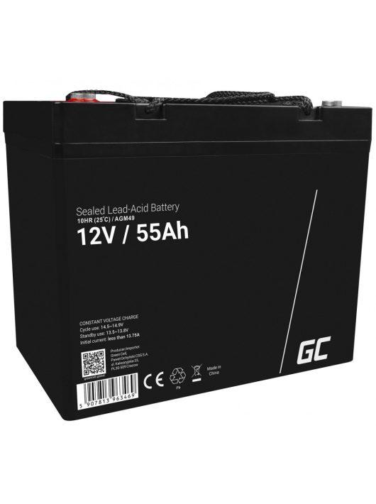 Green Cell AGM Ólom sav akkumulátor/akku 12V 55Ah (karbantartást nem igénylő, csónakhoz és gumicsónakhoz)