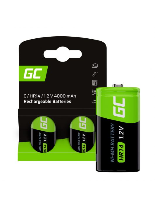 Rechargeable batteries 2x C R14 HR14 Ni-MH 1.2V 4000mAh Green Cell