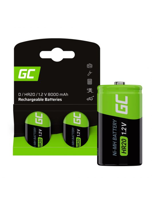 Rechargeable batteries 2x D R20 HR20 Ni-MH 1.2V 8000mAh Green Cell
