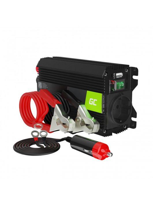 Green Cell Autós Teljesítmény Inverter 12V-ról 230V-ra (feszültség növelő) 300W / 600W USB-vel