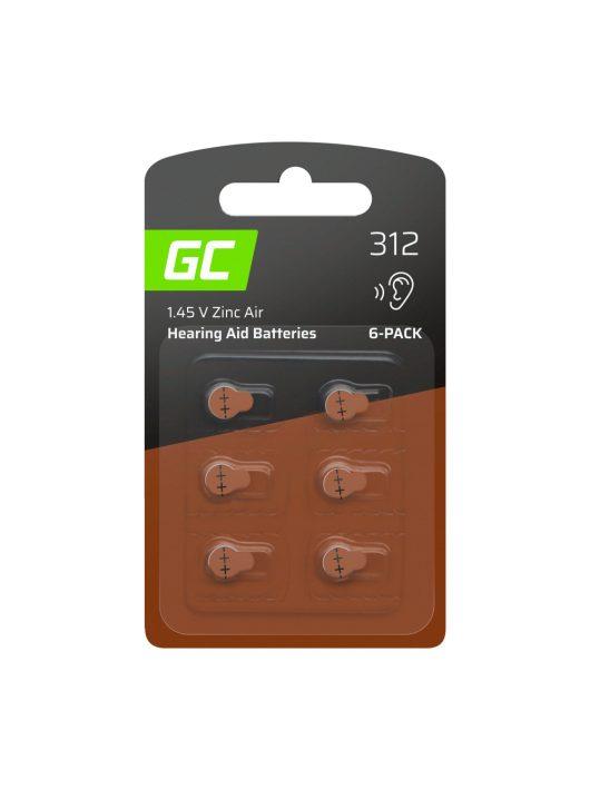 6x Green Cell hallókészülék elem Typ 312 P312 PR41 ZL3 Cink levegő típus
