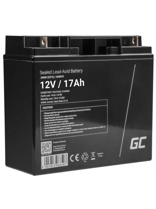 Green Cell ólom-sav AGM akkumulátor/akku 12V 17Ah hajókhoz, elektromos járművekhez