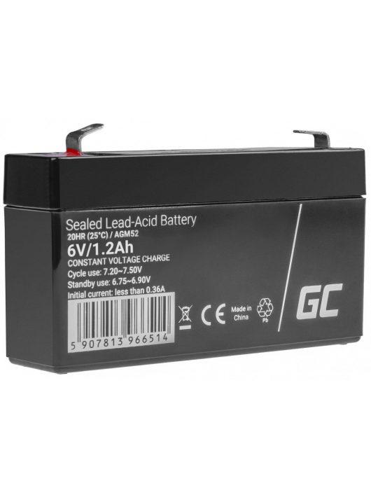 ólom-sav AGM akkumulátor/akku 6V 1.2Ah játékokhoz, riasztókhoz