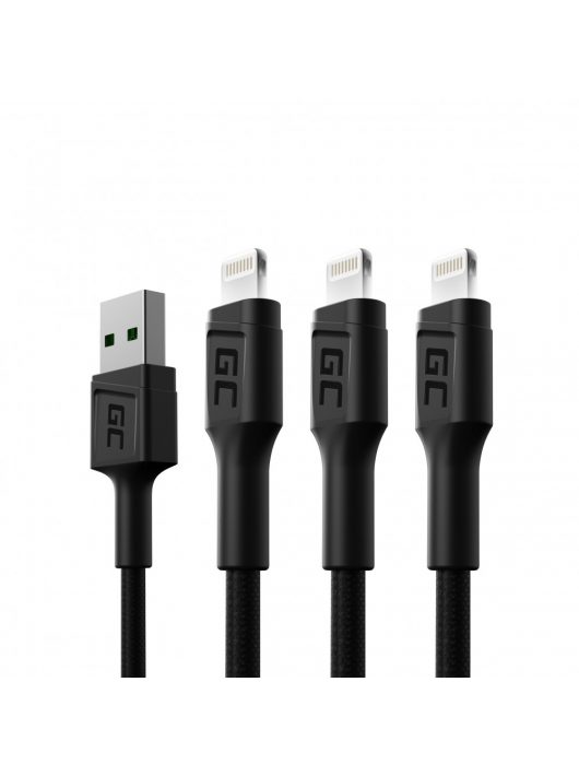 3 x Green Cell GC Ray USB - Lighting 120cm gyors töltés iPhone, iPad, iPod-hoz, fehér LED