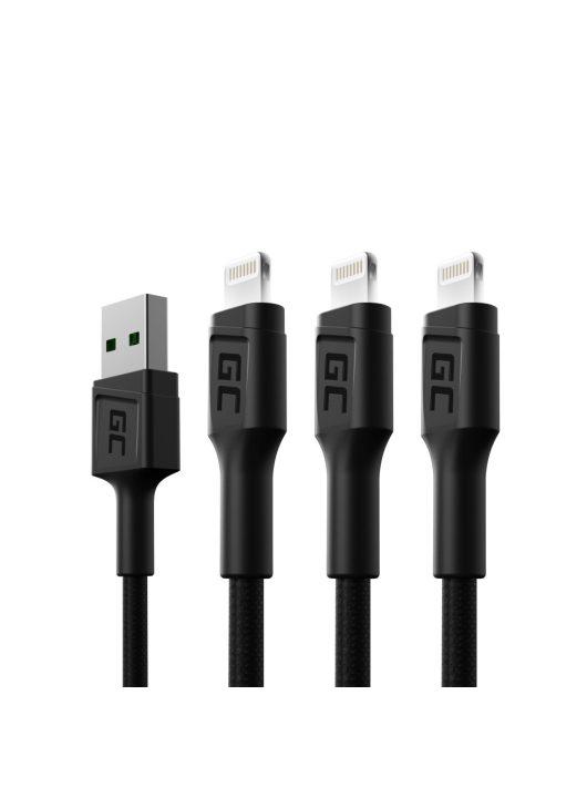 3 x Green Cell GC Ray USB - Lighting 200cm gyors töltés Apple, fehér LED