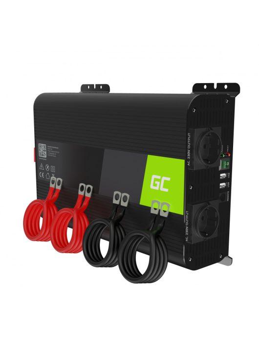 Green Cell Autós Teljesítmény Inverter 12V-ról 230V-ra (feszültség növelő) 2000W / 4000W tiszta szinusz