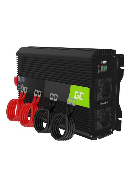 Green Cell Autós Teljesítmény Inverter 12V-ról 230V-ra (feszültség növelő) 3000W / 6000W módosított szinusz