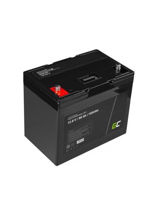 Green Cell akkumulátor/akku LiFePO4 80Ah 12.8V lithium iron foszfát, fotovoltaikus, napelemes rendszerű kempingautóhoz